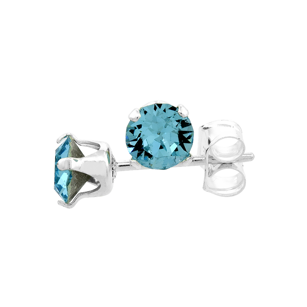 Sterling Silver March Birthstone Stud Earrings with Aquamarine Color Swarovski Crystals 4 mm 1/2 ct total
