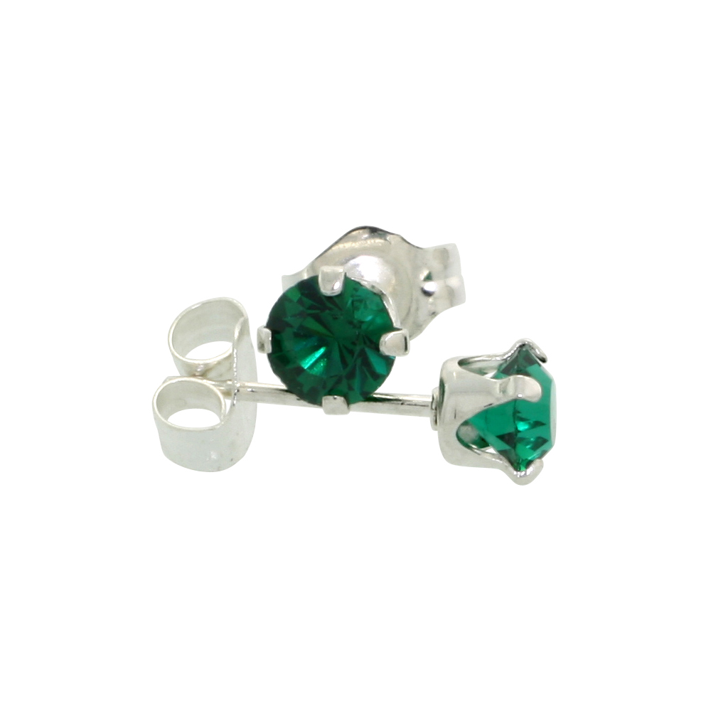 Sterling Silver May Birthstone Stud Earrings with Emerald Color Swarovski Crystals 4 mm 1/2 ct total