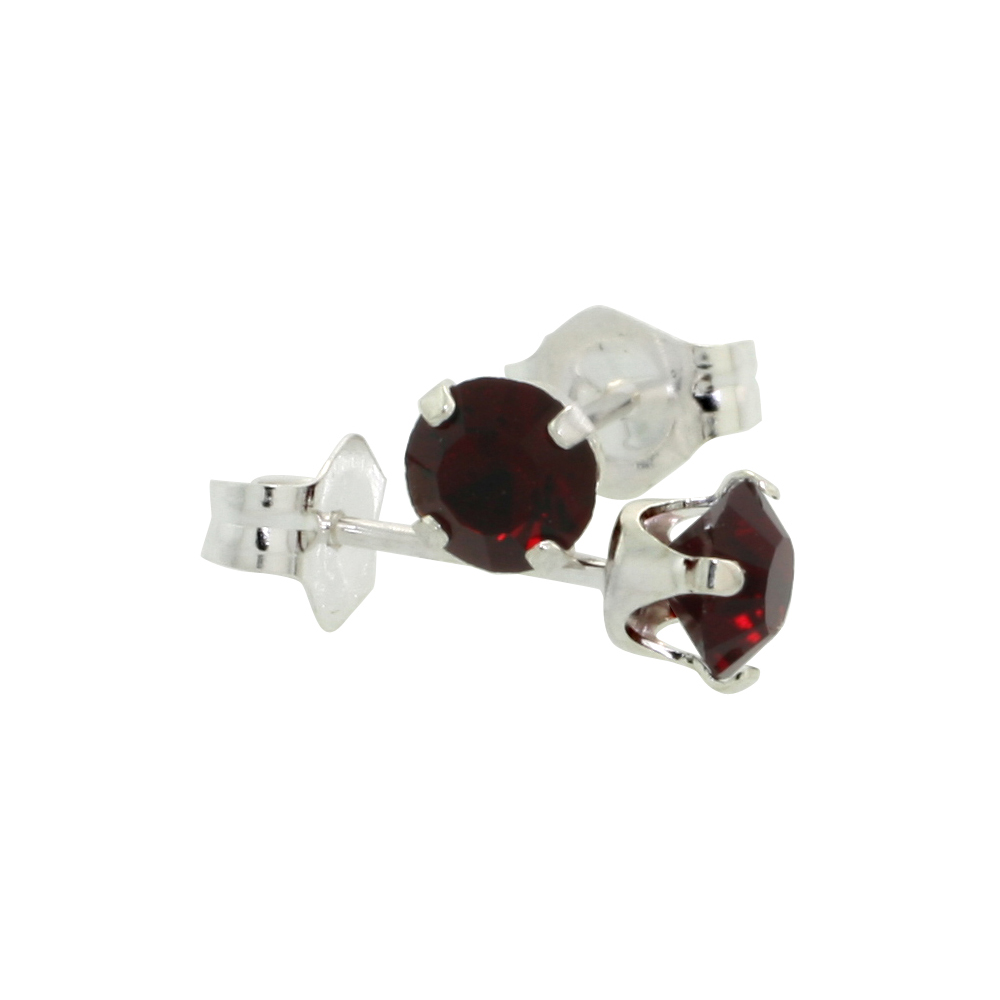 Sterling Silver July Birthstone Stud Earrings with Ruby Color Swarovski Crystals 4 mm 1/2 ct total