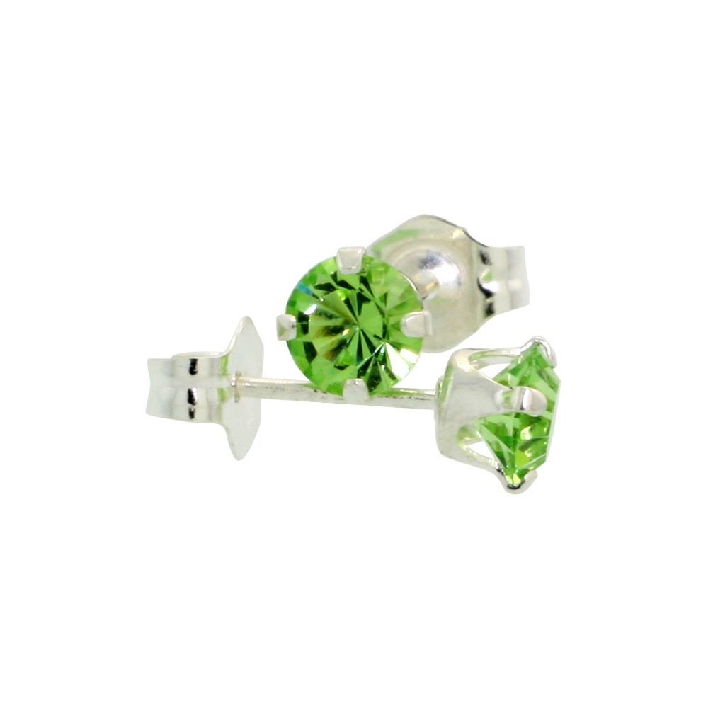 Sterling Silver August Birthstone Stud Earrings with Peridot Color Swarovski Crystals 4 mm 1/2 ct total