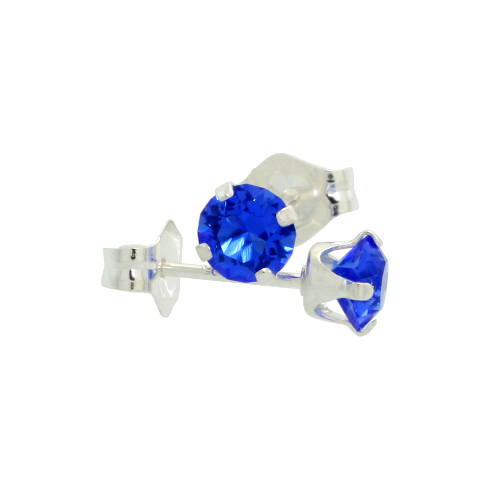 Sterling Silver 4mm Round Blue Sapphire Color Crystal Stud Earrings September Birthstones with Swarovski Crystals 1/2 ct total