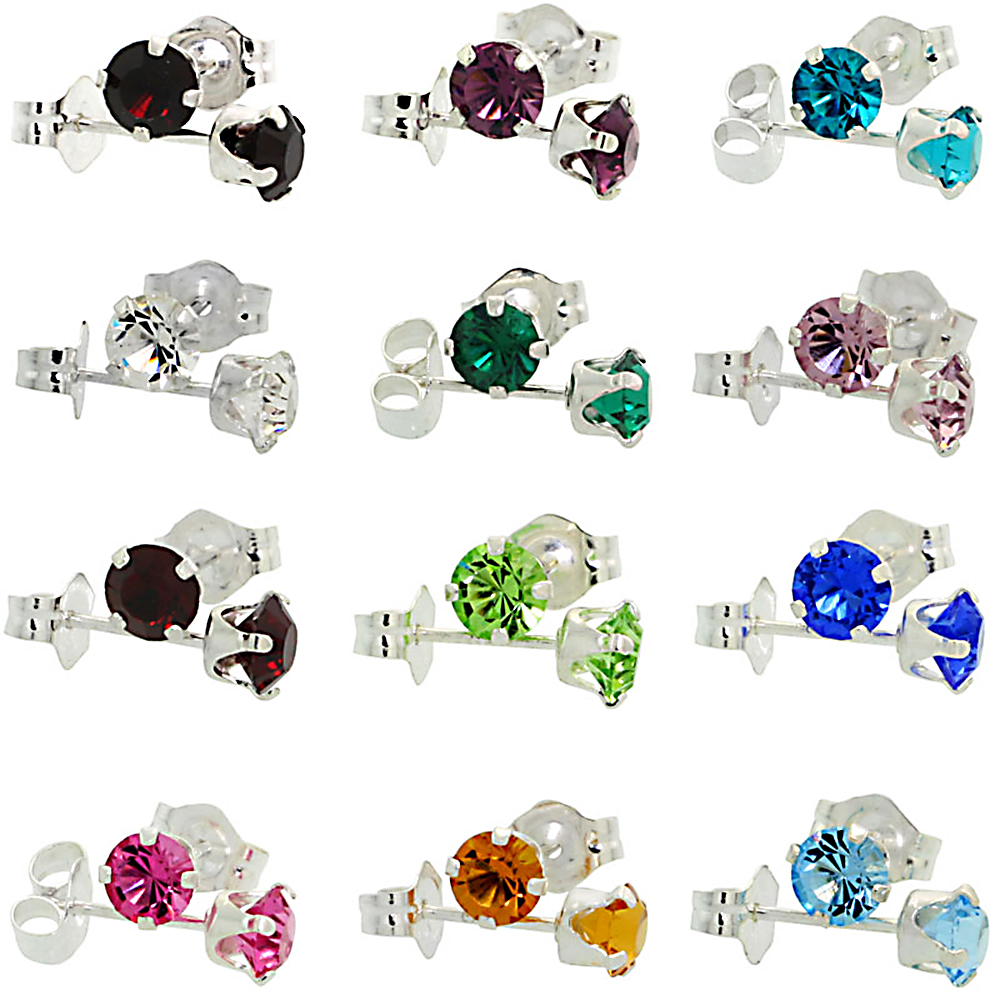 12 pair Set Multi Color Sterling Silver Birthstone Stud Earrings 12 Colors Swarovski Crystals 4 mm