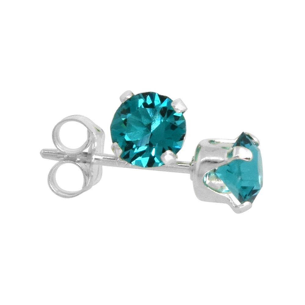 Sterling Silver December Birthstone Stud Earrings with Blue Topaz Color Swarovski Crystals 4 mm 1/2 ct total