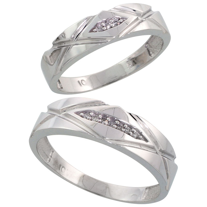 10k White Gold Diamond Wedding Rings Set for him 6mm and her 5mm 2-Piece 0.06 cttw Brilliant Cut, ladies sizes 5 � 10, mens size
