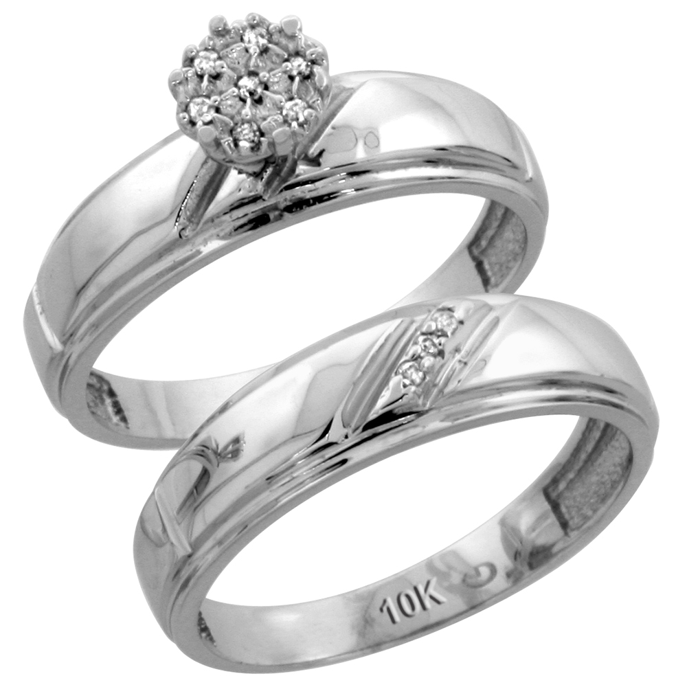10k White Gold Mens Diamond Wedding Band Ring 0.03 cttw Brilliant Cut, 1/4 inch 7mm wide