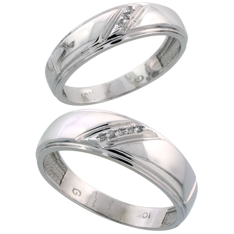 10k White Gold Diamond Wedding Rings Set for him 7 mm and her 5.5 mm 2-Piece 0.05 cttw Brilliant Cut, ladies sizes 5 � 10, mens