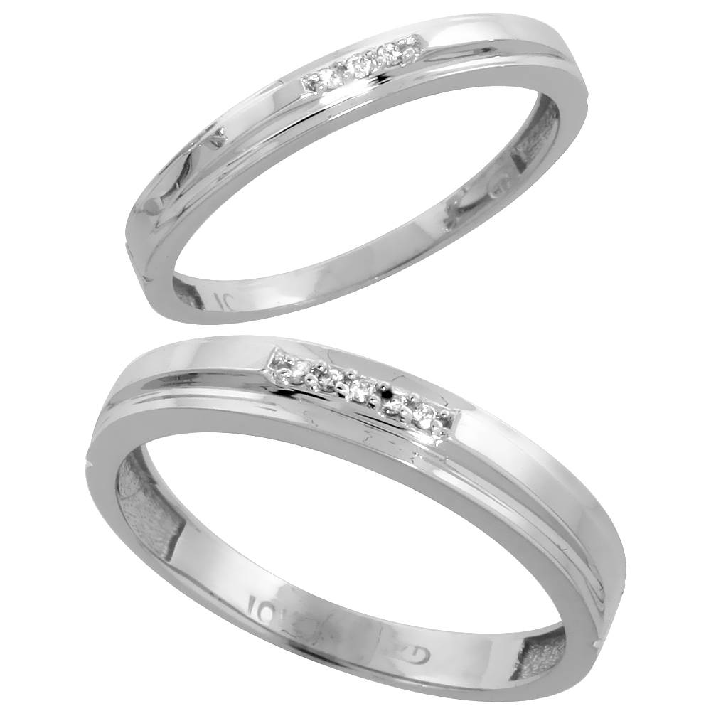 10k White Gold Diamond 2 Piece Wedding Ring Set His 4mm & Hers 3mm, Men's Size 8 to 14