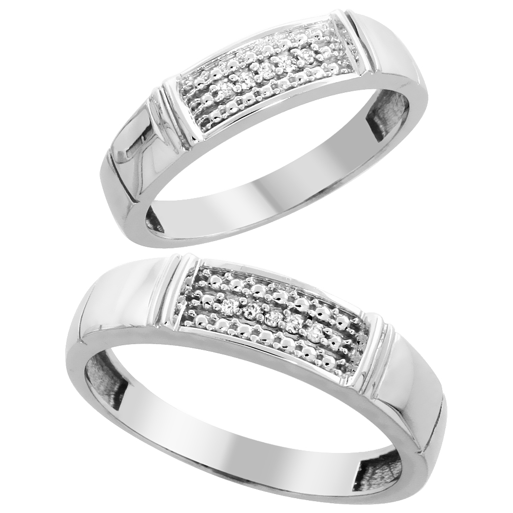 10k White Gold Diamond 2 Piece Wedding Ring Set His 5mm & Hers 4.5mm, Men's Size 8 to 14