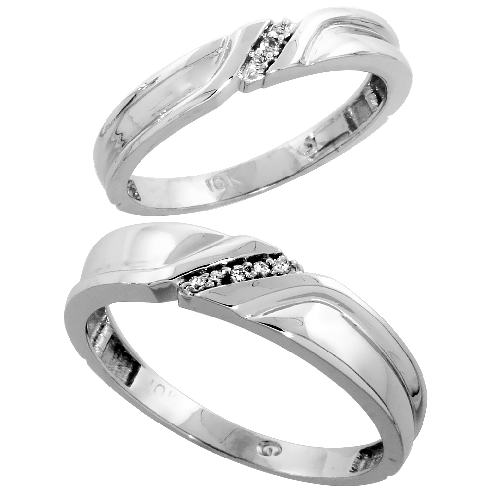 10k White Gold Diamond Wedding Rings Set for him 5 mm and her 3.5 mm 2-Piece 0.06 cttw Brilliant Cut, ladies sizes 5 � 10, mens
