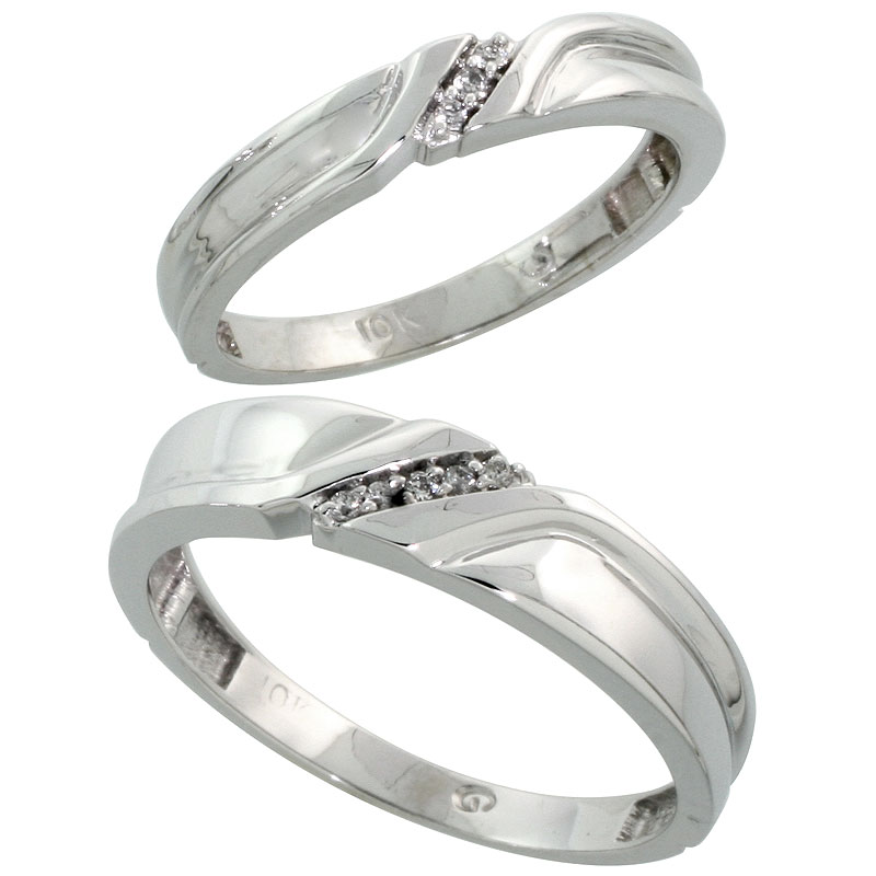10k White Gold Diamond 2 Piece Wedding Ring Set His 5mm & Hers 3.5mm, Men's Size 8 to 14