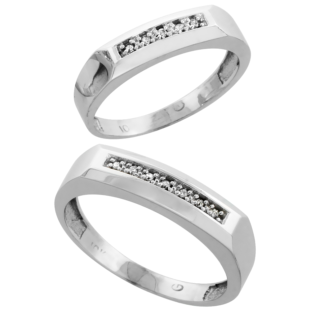 10k White Gold Diamond Wedding Rings Set for him 5 mm and her 4.5 mm 2-Piece 0.07 cttw Brilliant Cut, ladies sizes 5 � 10, mens