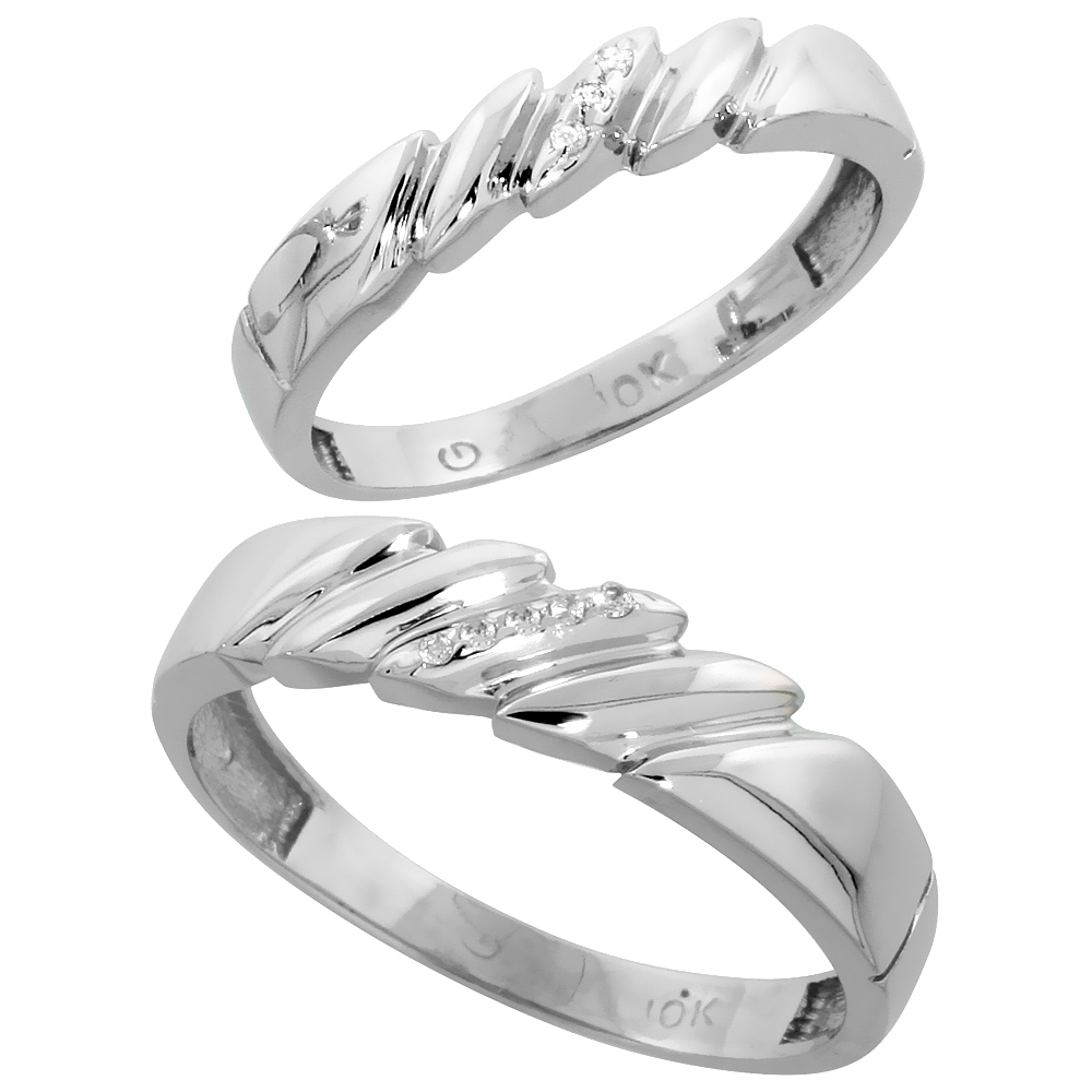 10k White Gold Diamond 2 Piece Wedding Ring Set His 5mm & Hers 4mm, Men's Size 8 to 14