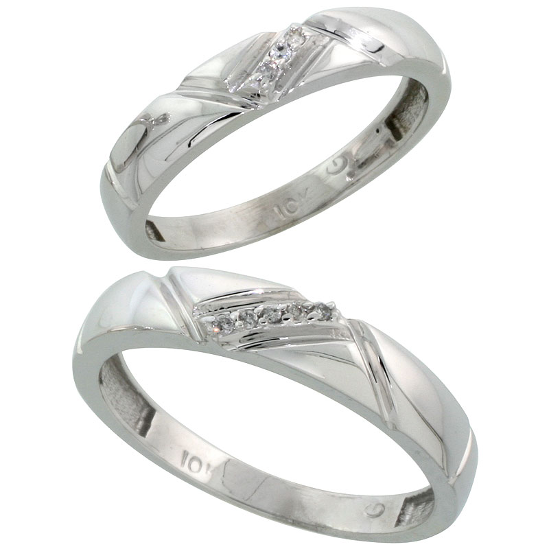 10k White Gold Diamond 2 Piece Wedding Ring Set His 4.5mm & Hers 4mm, Men's Size 8 to 14