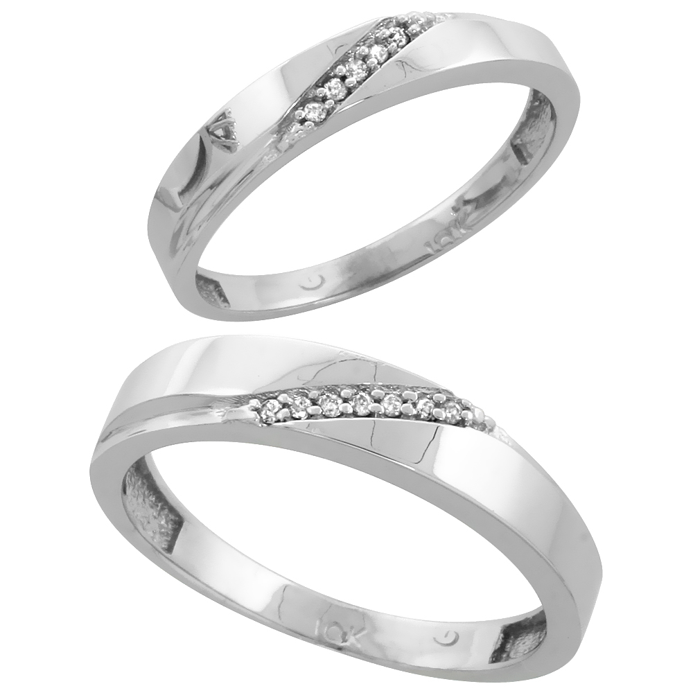 10k White Gold Diamond 2 Piece Wedding Ring Set His 4.5mm & Hers 3.5mm, Men's Size 8 to 14