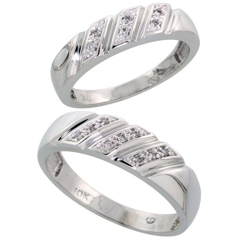 10k White Gold Diamond 2 Piece Wedding Ring Set His 6mm & Hers 5mm, Men's Size 8 to 14