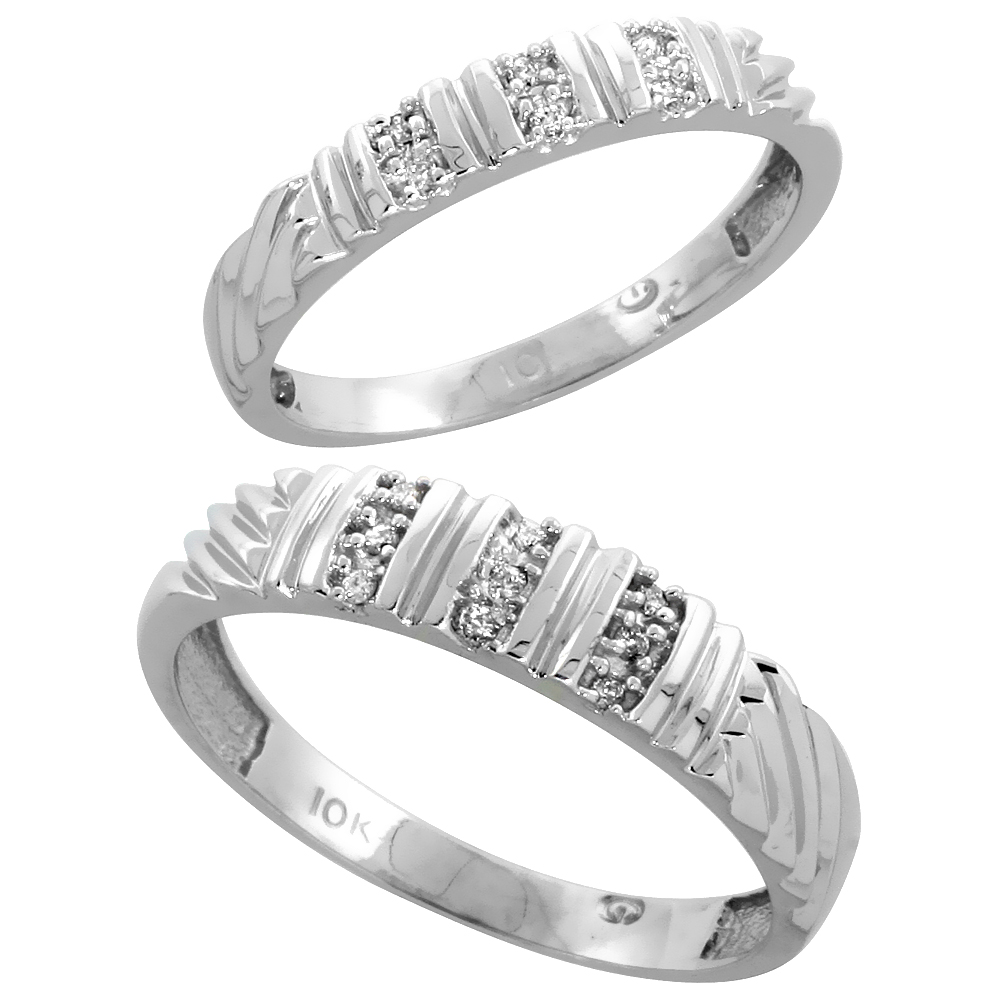 10k White Gold Diamond Wedding Rings Set for him 5 mm and her 3.5 mm 2-Piece 0.08 cttw Brilliant Cut, ladies sizes 5 � 10, mens