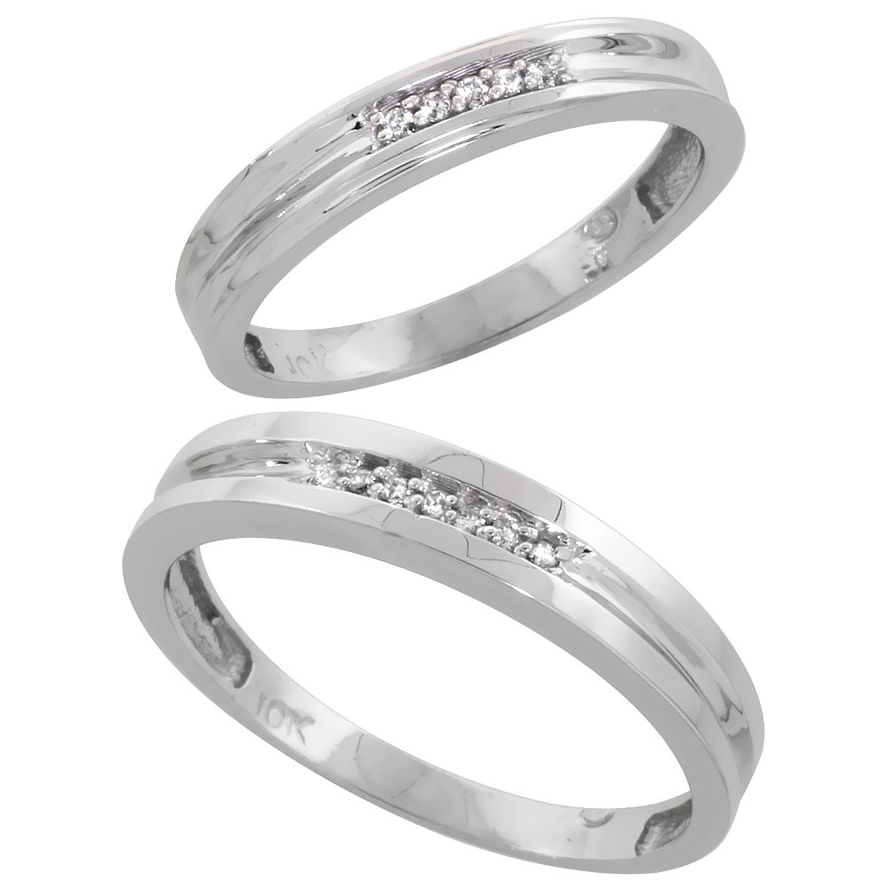 10k White Gold Diamond 2 Piece Wedding Ring Set His 4mm & Hers 3.5mm, Men's Size 8 to 14