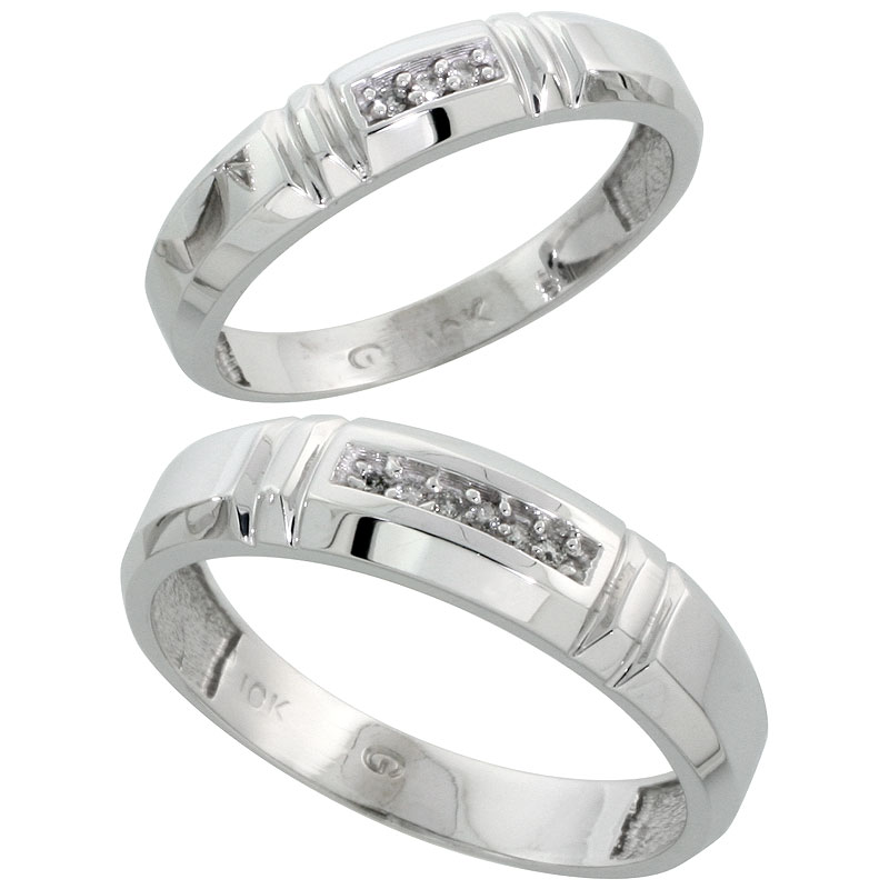 10k White Gold Diamond 2 Piece Wedding Ring Set His 5.5mm & Hers 4mm, Men's Size 8 to 14