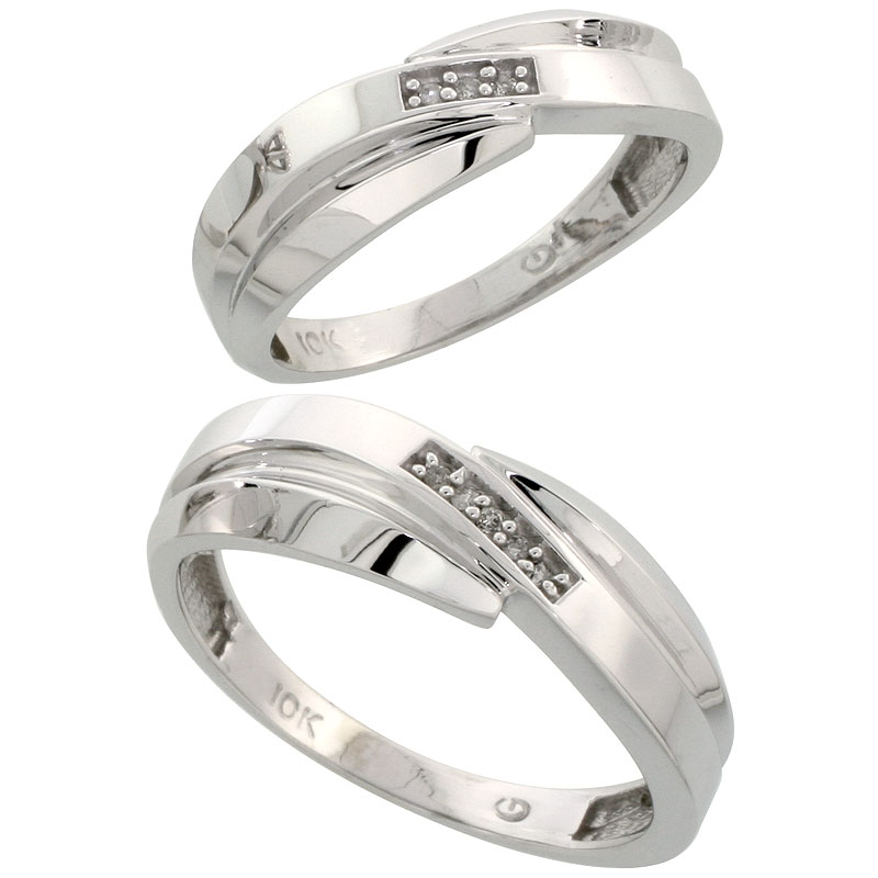 10k White Gold Diamond 2 Piece Wedding Ring Set His 7mm & Hers 6mm, Men's Size 8 to 14
