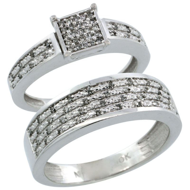 14k White Gold 2-Piece Diamond Ring Band Set w/ Rhodium Accent ( Engagement Ring & Man's Wedding Band ), w/ 0.27 Carat Brilliant Cut Diamonds, ( 3.5mm; 6.5mm ) wide