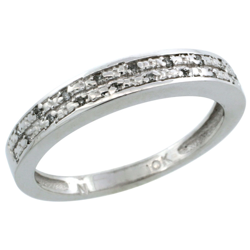 14k White Gold Ladies' Diamond Ring Band w/ 0.064 Carat Brilliant Cut Diamonds, 1/8 in. (3.5mm) wide