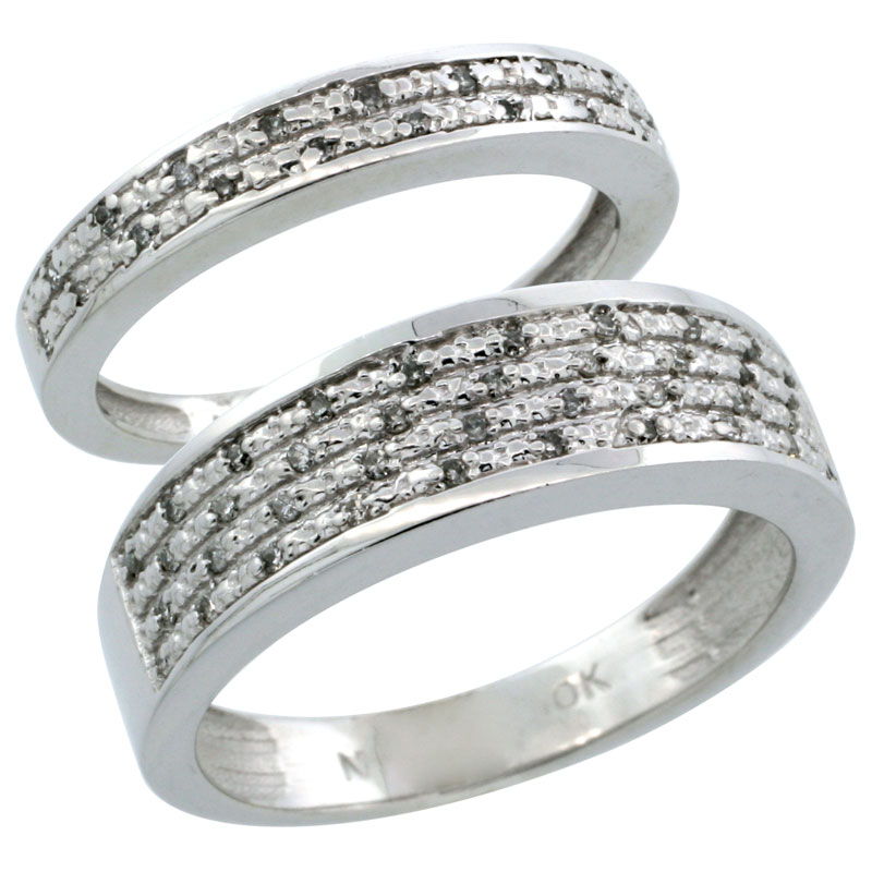 10k White Gold 2-Piece His (6.5mm) & Hers (3.5mm) Diamond Wedding Ring Band Set w/ 0.18 Carat Brilliant Cut Diamonds; (Ladies Size 5 to10; Men's Size 8 to 14)