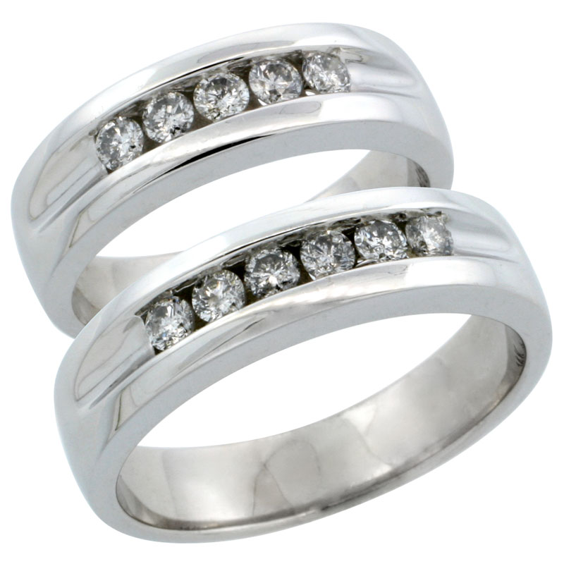 10k White Gold 2-Piece His (5.5mm) & Hers (5.5mm) Diamond Wedding Ring Band Set w/ 0.66 Carat Brilliant Cut Diamonds; (Ladies Size 5 to10; Men's Size 8 to 12.5)