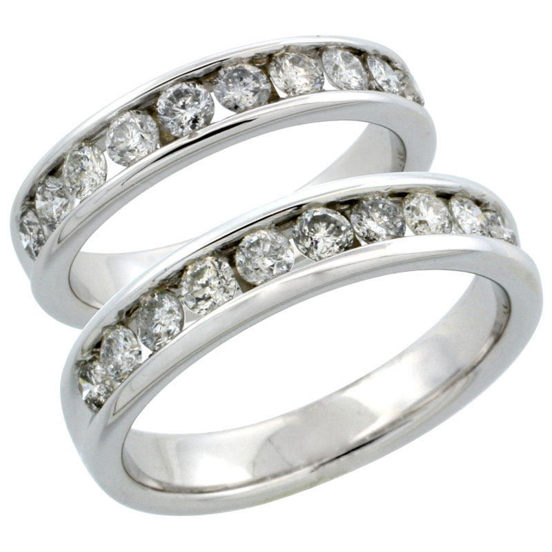 10k White Gold 2-Piece His (5mm) & Hers (4.5mm) Diamond Wedding Ring Band Set w/ 1.48 Carat Brilliant Cut Diamonds; (Ladies Size 5 to10; Men's Size 8 to 12.5)