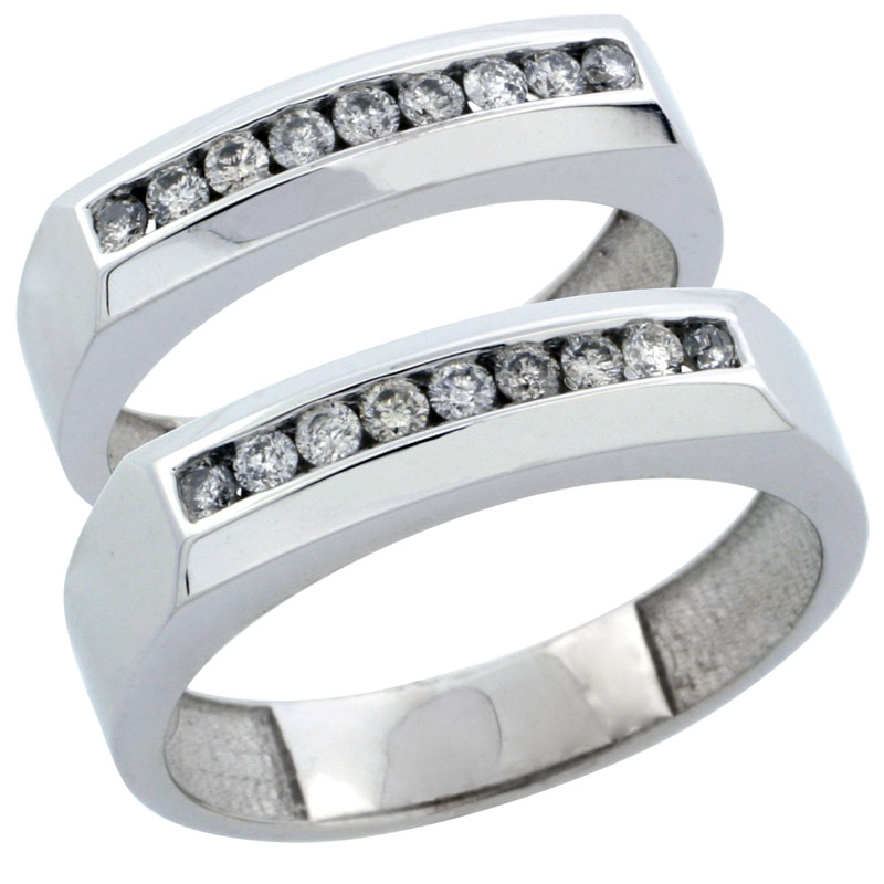 10k White Gold 2-Piece His (5mm) & Hers (5mm) Diamond Wedding Ring Band Set w/ 0.48 Carat Brilliant Cut Diamonds; (Ladies Size 5 to10; Men's Size 8 to 12.5)