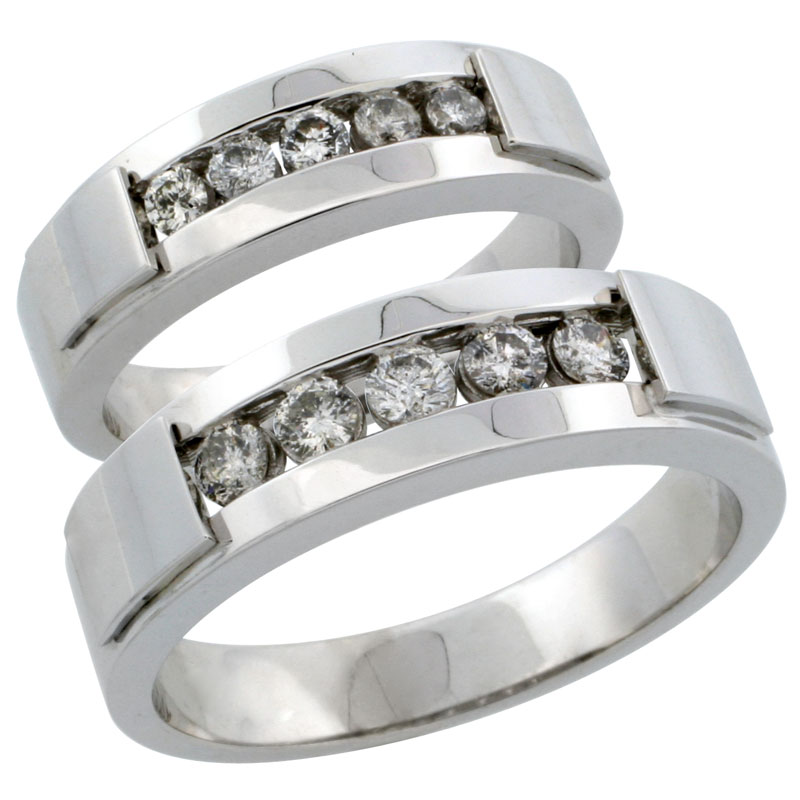 10k White Gold 2-Piece His (6mm) & Hers (5mm) Diamond Wedding Ring Band Set w/ 0.61 Carat Brilliant Cut Diamonds; (Ladies Size 5 to10; Men's Size 8 to 12.5)
