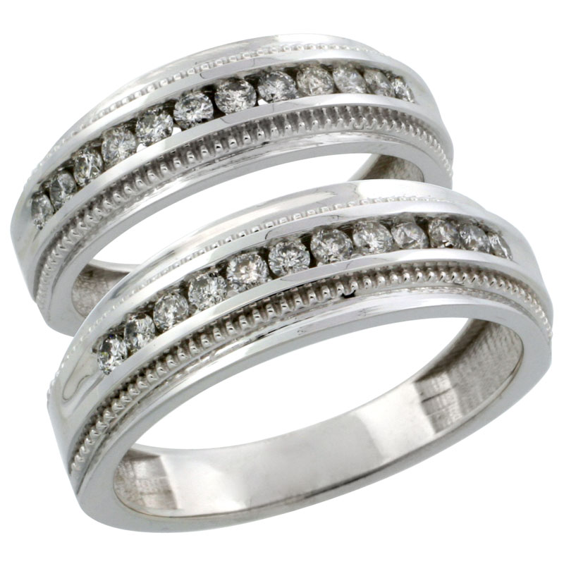10k White Gold 2-Piece His (7mm) & Hers (6mm) Milgrain Design Diamond Wedding Ring Band Set w/ 0.62 Carat Brilliant Cut Diamonds; (Ladies Size 5 to10; Men's Size 8 to 12.5)