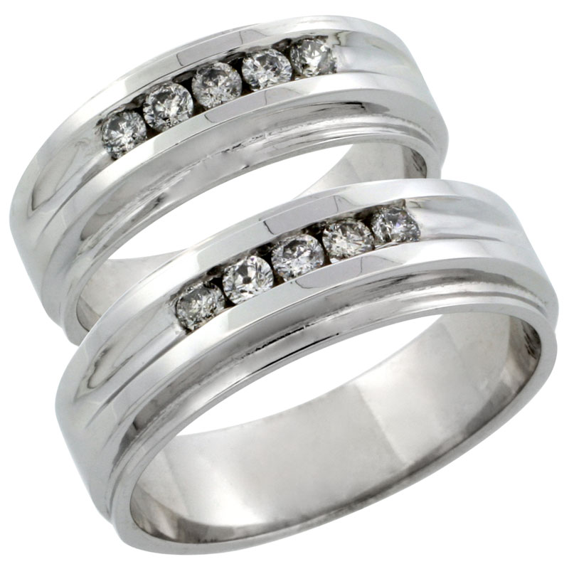 10k White Gold 2-Piece His (7mm) & Hers (7mm) Diamond Wedding Ring Band Set w/ 0.46 Carat Brilliant Cut Diamonds; (Ladies Size 5 to10; Men's Size 8 to 12.5)