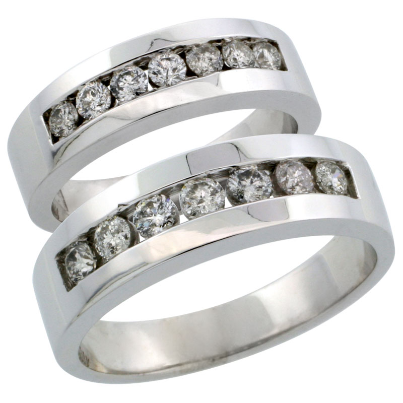 10k White Gold 2-Piece His (6.5mm) & Hers (5.5mm) Diamond Wedding Ring Band Set w/ 0.96 Carat Brilliant Cut Diamonds; (Ladies Size 5 to10; Men's Size 8 to 12.5)
