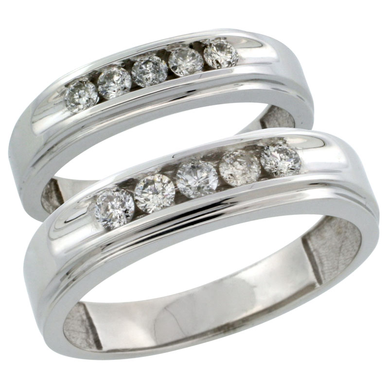 10k White Gold 2-Piece His (6mm) & Hers (5mm) Diamond Wedding Ring Band Set w/ 0.67 Carat Brilliant Cut Diamonds; (Ladies Size 5 to10; Men's Size 8 to 12.5)