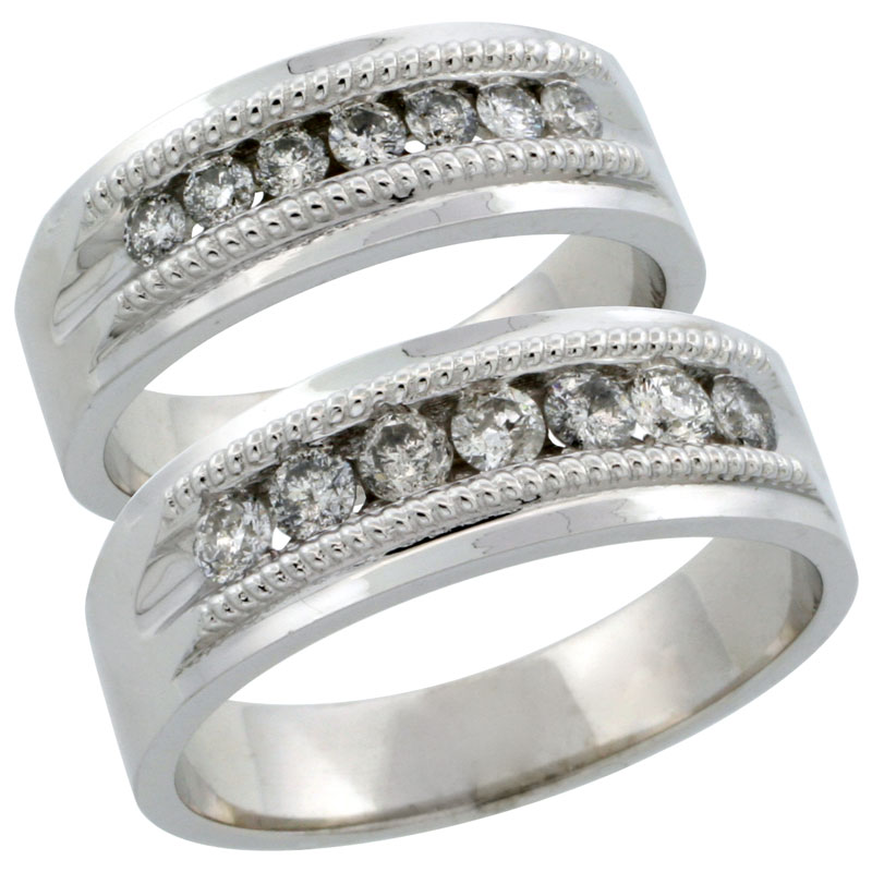 10k White Gold 2-Piece His (7mm) & Hers (6.5mm) Milgrain Design Diamond Wedding Ring Band Set w/ 0.86 Carat Brilliant Cut Diamonds; (Ladies Size 5 to10; Men's Size 8 to 12.5)