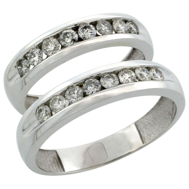 10k White Gold 2-Piece His (5mm) & Hers (4.5mm) Diamond Wedding Ring Band Set w/ 0.94 Carat Brilliant Cut Diamonds; (Ladies Size 5 to10; Men's Size 8 to 12.5)