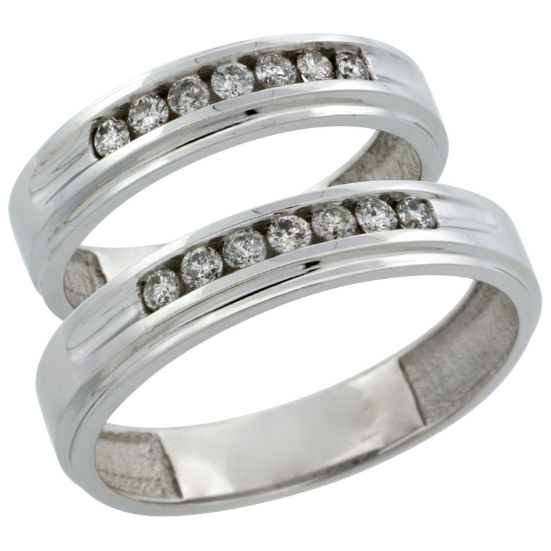 10k White Gold 2-Piece His (5mm) & Hers (5mm) Diamond Wedding Ring Band Set w/ 0.42 Carat Brilliant Cut Diamonds; (Ladies Size 5 to10; Men's Size 8 to 12.5)