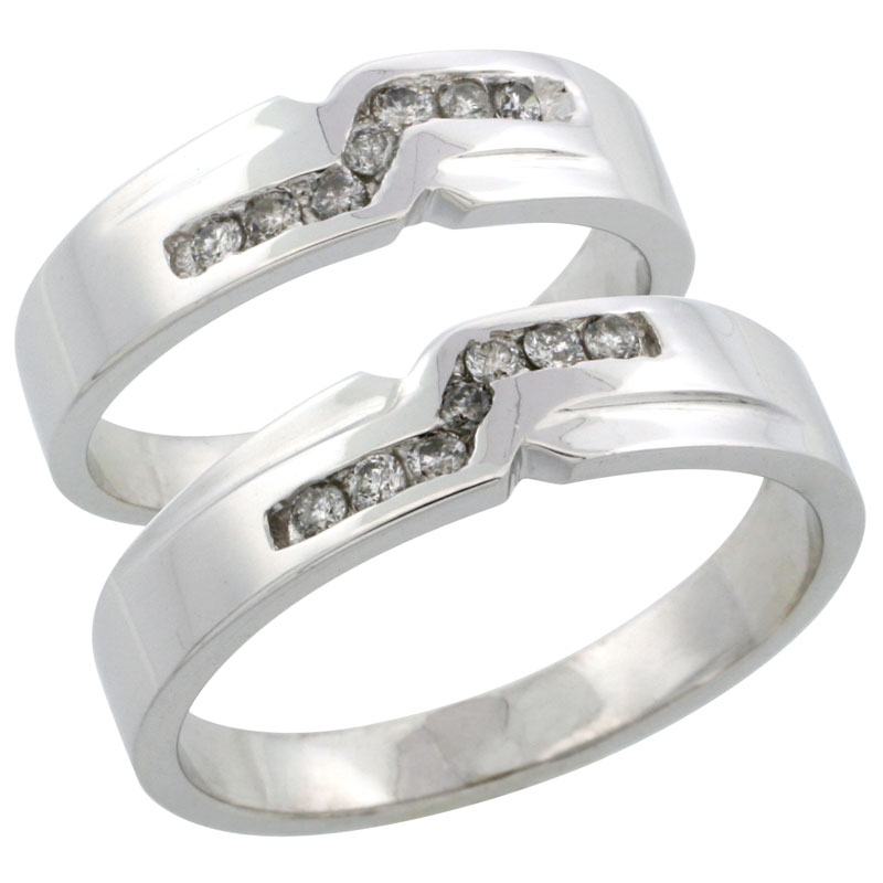 10k White Gold 2-Piece His (5mm) & Hers (5mm) Diamond Wedding Ring Band Set w/ 0.31 Carat Brilliant Cut Diamonds; (Ladies Size 5 to10; Men's Size 8 to 14)