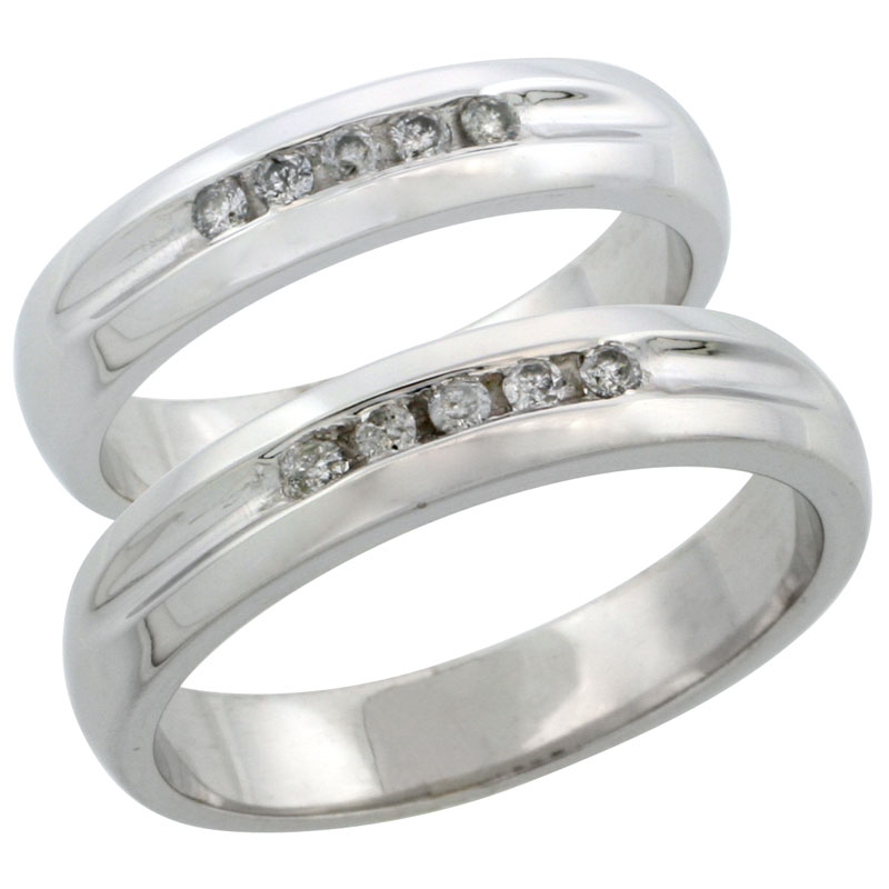 10k White Gold 2-Piece His (4.5mm) & Hers (4.5mm) Diamond Wedding Ring Band Set w/ 0.20 Carat Brilliant Cut Diamonds; (Ladies Size 5 to10; Men's Size 8 to 14)