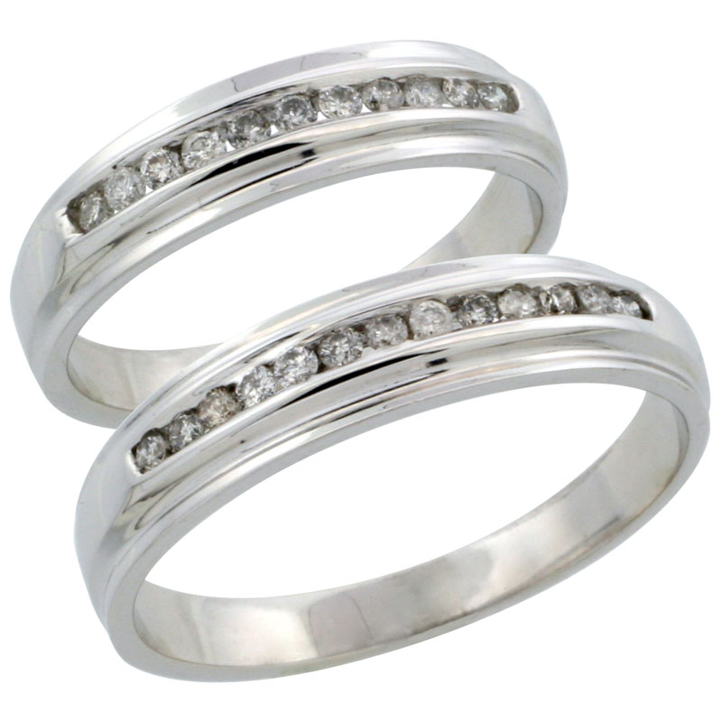 10k White Gold 2-Piece His (5mm) & Hers (5mm) Diamond Wedding Ring Band Set w/ 0.37 Carat Brilliant Cut Diamonds; (Ladies Size 5 to10; Men's Size 8 to 14)