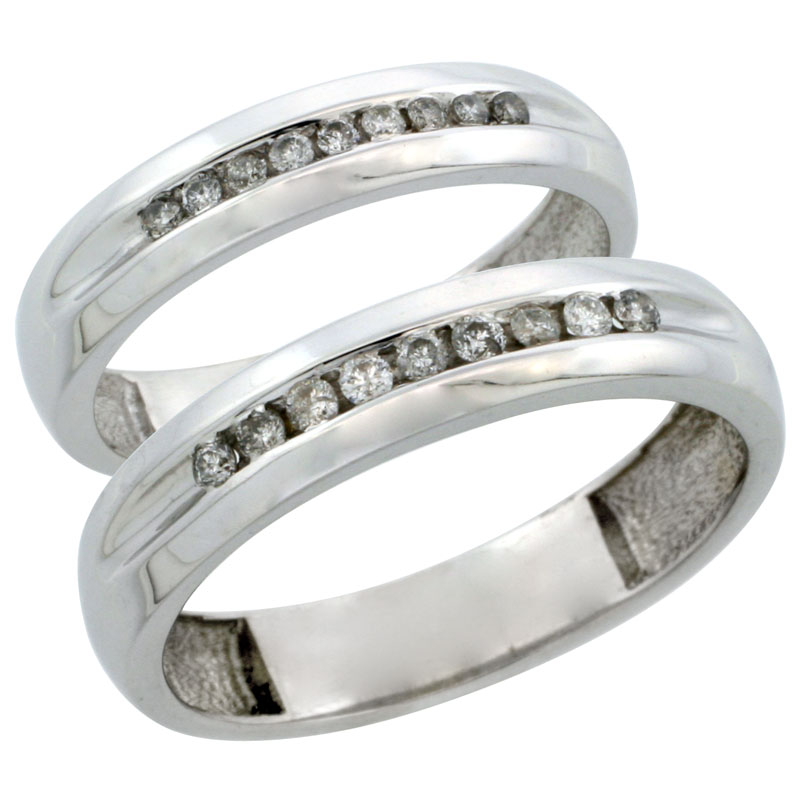 10k White Gold 2-Piece His (5mm) & Hers (4mm) Diamond Wedding Ring Band Set w/ 0.27 Carat Brilliant Cut Diamonds; (Ladies Size 5 to10; Men's Size 8 to 14)
