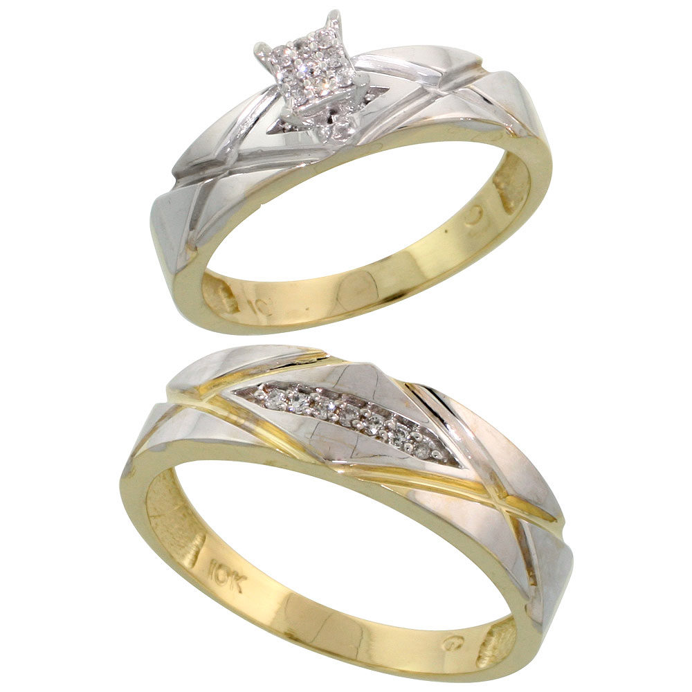 10k Yellow Gold Diamond Engagement Rings Set for Men and Women 2-Piece 0.10 cttw Brilliant Cut, 5mm & 6mm wide