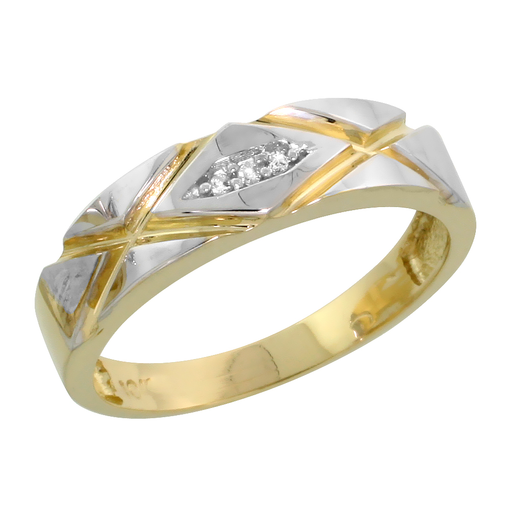 10k Yellow Gold Ladies Diamond Wedding Band Ring 0.02 cttw Brilliant Cut, 3/16 inch 5mm wide
