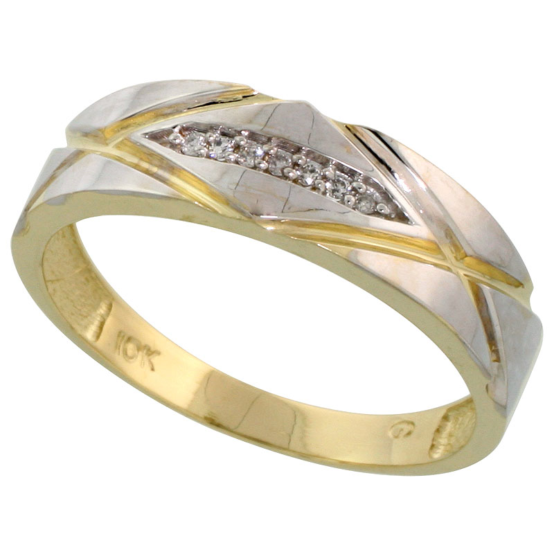 10k Yellow Gold Mens Diamond Wedding Band Ring 0.04 cttw Brilliant Cut, 1/4 inch 6mm wide