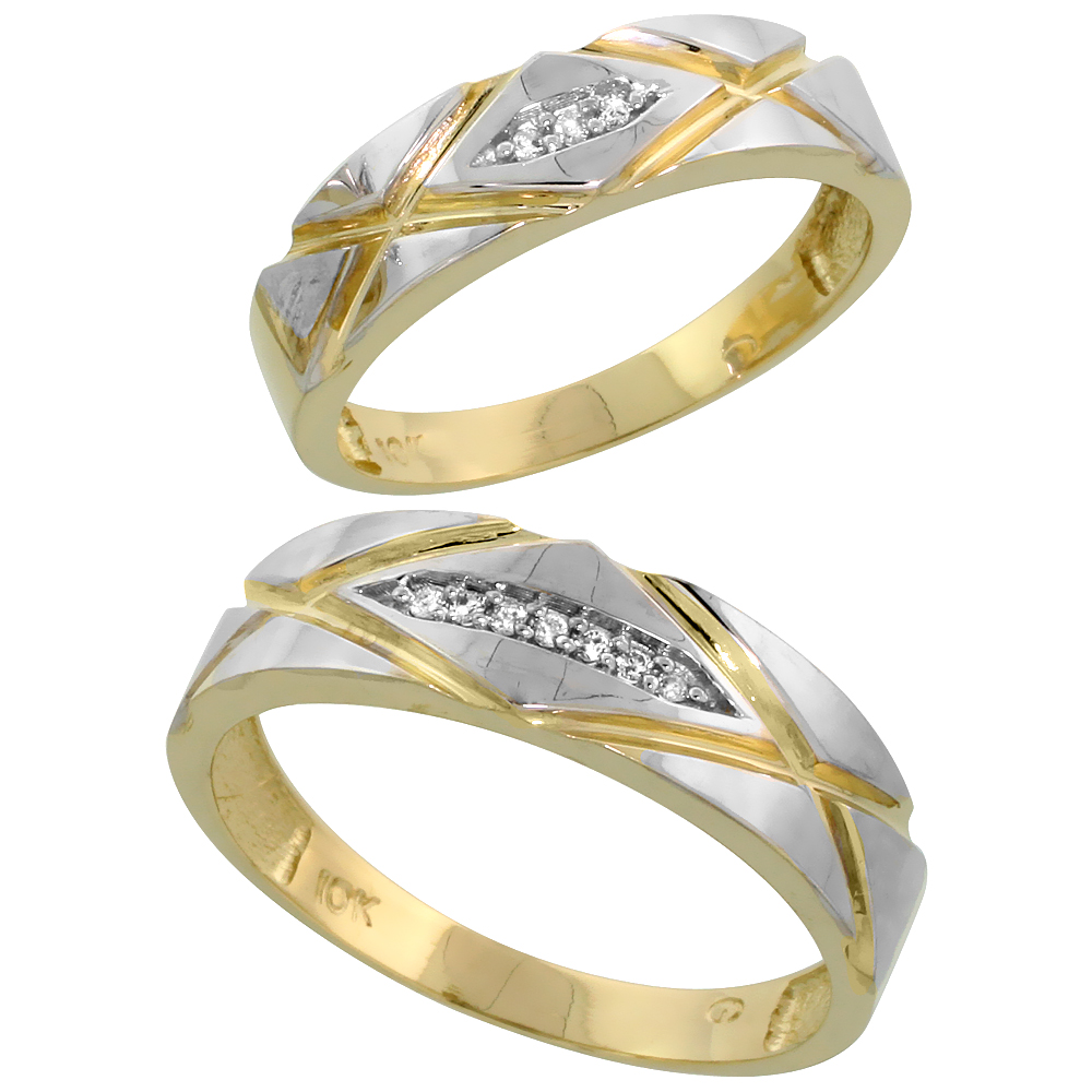 10k Yellow Gold Diamond Wedding Rings Set for him 6mm and her 5mm 2-Piece 0.06 cttw Brilliant Cut, ladies sizes 5 � 10, mens siz