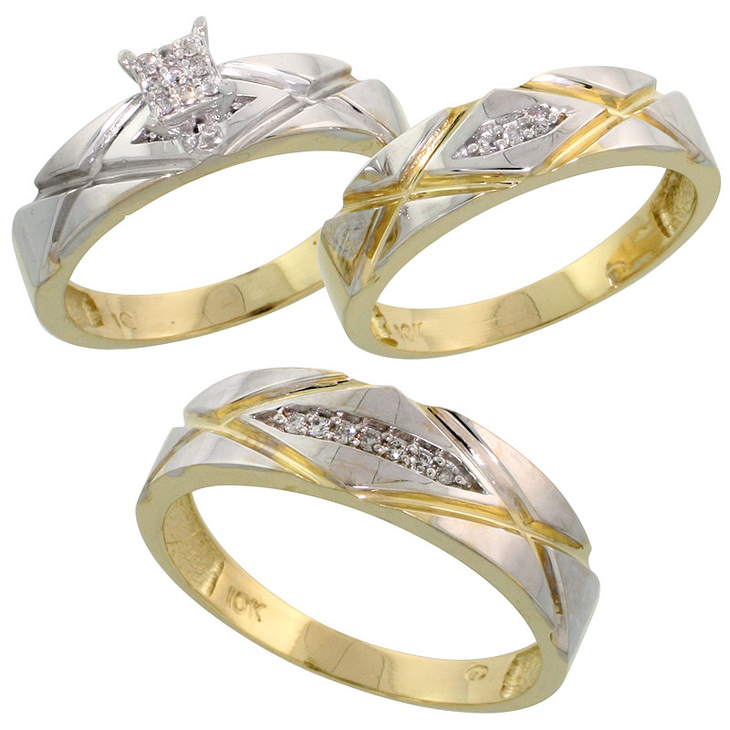 10k Yellow Gold Trio Engagement Wedding Ring Set for Him and Her 3-piece 6 mm & 5 mm wide 0.12 cttw Brilliant Cut, ladies sizes