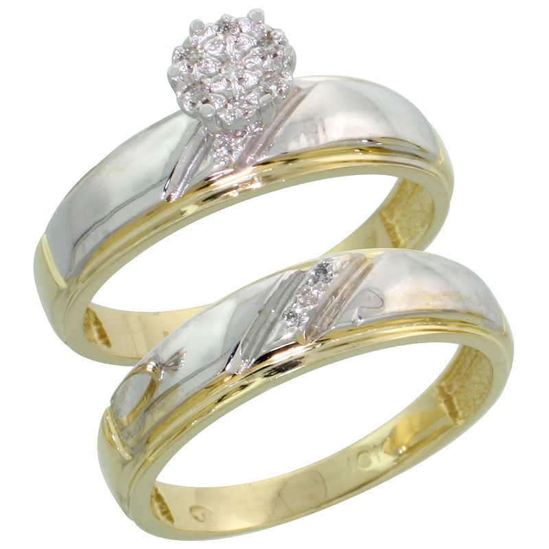 10k Yellow Gold Diamond Engagement Ring Set 2-Piece 0.06 cttw Brilliant Cut, 7/32 inch 5.5mm wide