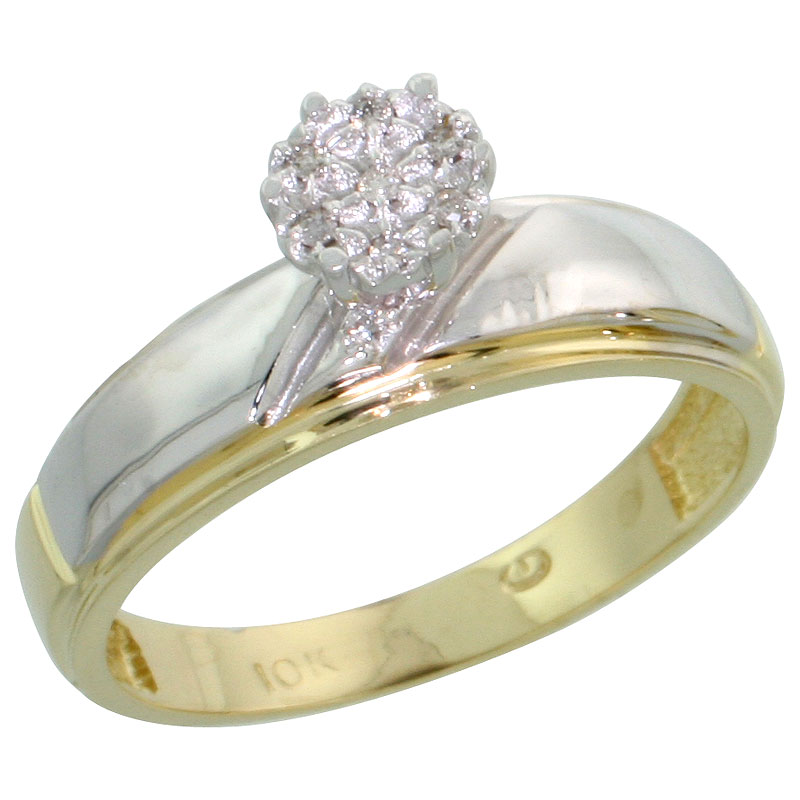10k Yellow Gold Diamond Engagement Ring 0.04 cttw Brilliant Cut, 7/32 inch 5.5mm wide