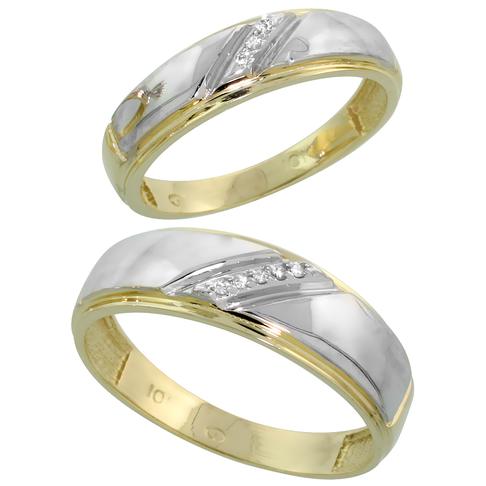 10k Yellow Gold Diamond Wedding Rings Set for him 7 mm and her 5.5 mm 2-Piece 0.05 cttw Brilliant Cut, ladies sizes 5 � 10, mens