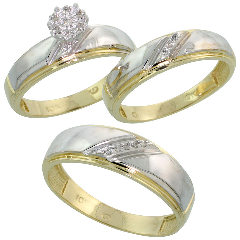 10k Yellow Gold Diamond Trio Engagement Wedding Ring Set for Him and Her 3-piece 7 mm & 5.5 mm wide 0.09 cttw Brilliant Cut, lad